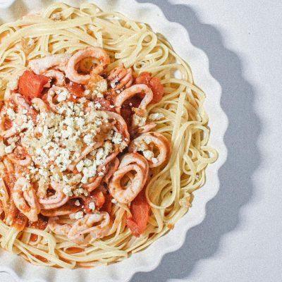 Made some yummy tomato calamari pasta!